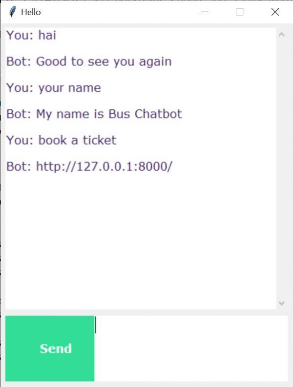 Tkinter Chat Bot Application using NLP 5